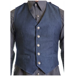 Classic Blue Denim Cotton Male Vest Gray Nyc Button Formal Gilet Halter Top
