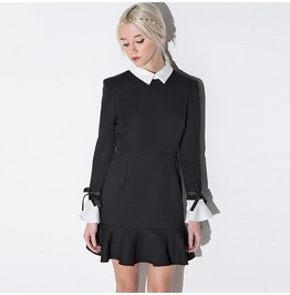 White Turn Down Collar Bowknot Flare Sleeve Black Dress
