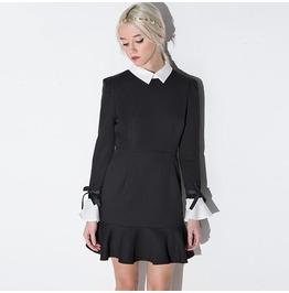 White Turn Down Collar Bowknot Flare Sleeve Black Dress