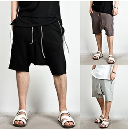 Waist Band Contrast Drawcord Jersey Cotton Baggy Sweatshorts 46