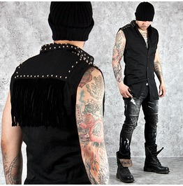 Striking Fringe Accent Studded Black Slim Vest 69