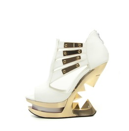 White Nebula Glam Rock Peeptoe Platform Gold Plate Wedge Sandals $9 To Ship
