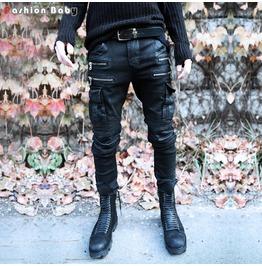Punk Men's Zipper Skinny Biker Jeans Pant