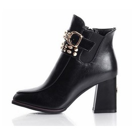 Buckle Strap Rivets Skull Studded Chunky High Heel Boots