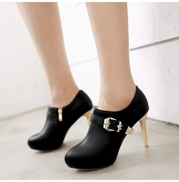 Skull Buckle Strap Thin High Heel Boots