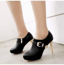 Skull Buckle Strap Thin High Heel Boots