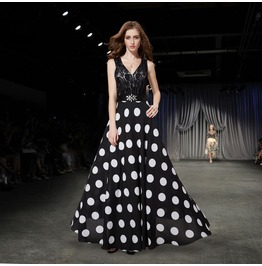 Ever Pretty Sexy V Neck Black Lace And Polka Dotted Maxi Dress