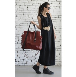 Maxi Red Genuine Leathe Bag/Large Tote Bag/Extravagant Belt Bag/Red Clutch