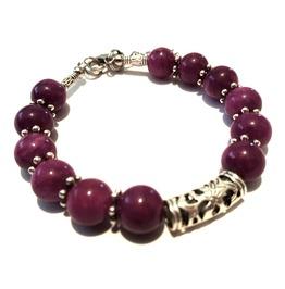 Cool Tibetan Silver Gemstone Purple Bead Bracelet Handcrafted