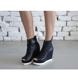 Black Genuine Leather Boots/All Season Black Shoes/Sexy Black Wedges