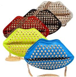 Fashion Rivet Punk Lips Art Shiny Model Lip Little Clucth Handbag