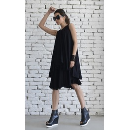 Asymmetric Loose Black Short Dress/Maxi Black Dress/Sleeveless Summer Dress