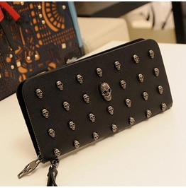 Punk Wallet Womens Skull Head Studded Long Purse Clutch Bag Black Wallet