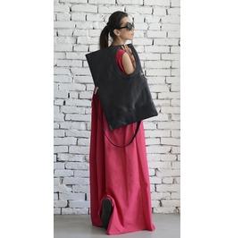 Black Maxi Bag/Extravagant Circle Tote/Genuine Leather Black Bag/Large Bag
