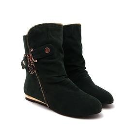 Women's Flock Flat Heels Ankle Boots