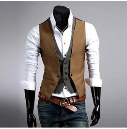 Black And Brown Casual V Neck Vest