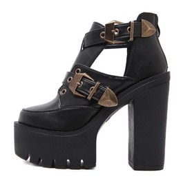 Vintage Buckle Strap Chunky High Heel Boots