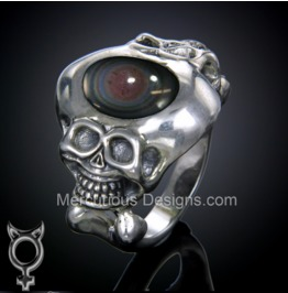 Two Faced Skull Ring. Hand Crafted Sterling Silver
