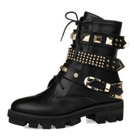 Metal Rivets Gold Buckle Strap Low Chunky Heel Women Boots