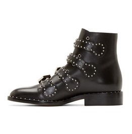 Stunning Rivets Studded Buckle Strap Low Chunky Heel Women Boots