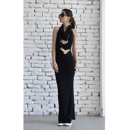 Black Backless Elegant Dress/Long Dinner Dress/Neck Strap Black Dress