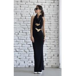 Black Backless Elegant Dress/Long Dinner Dress/Neck Strap Black Dress
