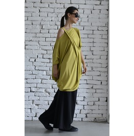 Casual Loose Green Tunic/Asymmetric Oversize Top/Quarter Sleeve Blouse