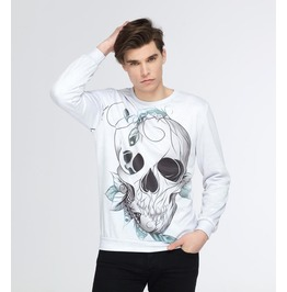 Leaf Skull Sweater With Graphic Design