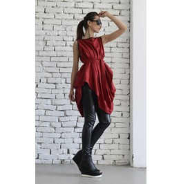 Red Asymmetric Top/Sexy Red Tunic/Loose Belt Vest/Sleeveless Tunic Top