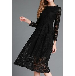 Mid Calf Length Ellegant Dress With Lace