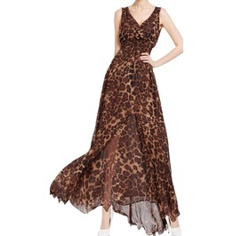 Full Length Beach Dress With Leopard Print