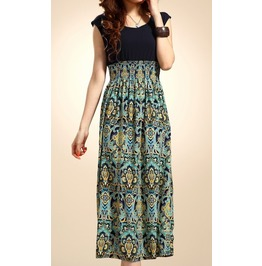 Under Knee Length Summer Dress With Vintage Print