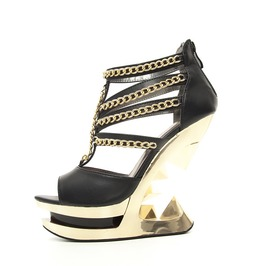 Black Nika Chain Glam Rock Gothic Punk Peeptoe Platform Gold Wedge Sandals