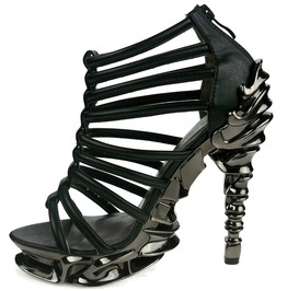Black Nix Hades Strappy Gothic Peeptoe Platform Metal Stiletto Heel Shoes