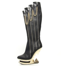 Black Onyx Knee High Gold Glam Rock Platform Wedge Fetish Boots $9 To Ship
