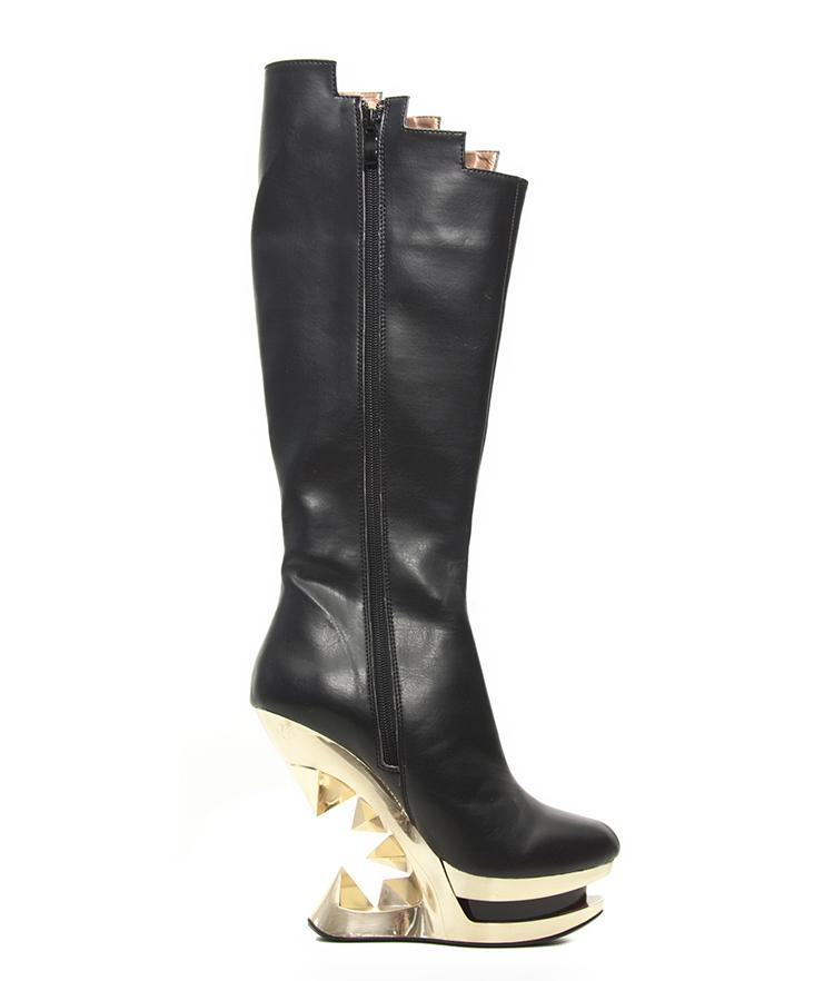 black onyx knee high hades gold glam rock platform wedge