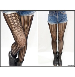 Striped Lace Fishnet Pantyhose/ Stockings/ Tights