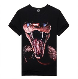 Men's T Shirt Round Neck 3 D Print Snake Tops