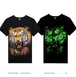 Men's Crew Neck Luminous Tiger T Shirt Round Neck 3 D Print Tops