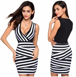 Women Sexy Bandage Bodycon Sleeveless Slim Evening Party Cocktail Dress