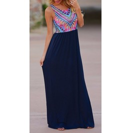 Full Length Summer Dress With Vintage Tribal Print
