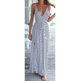 Full Length Summer Sleeveless Stripe V Neck Dress