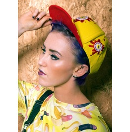 Eye Splat Attack Snapback Cap By Offend My Eyes Clothing Yellow Red Hat