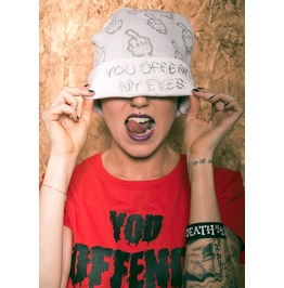 Up Yours Beanie By Offend My Eyes Clothing White Sliver Unisex