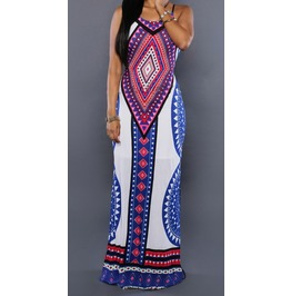 Full Length Sleeveless Dress With Vintage Tribal Print