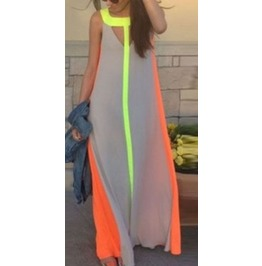 Vivid Color Stripes Sleeveless Summer Dress