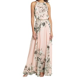 Women's Elegant Sleeveless Flower Print Dress