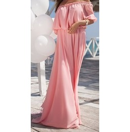 One Colour Shoulder Off Summer Dress