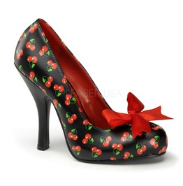 Pin Up Couture Cutiepie Black Red Pu Platform Pump With Cherries Print