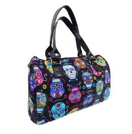 "Usa Handmade Doctor Bag With "" Decolores Sugar Skulls "" Gothic Pattern"